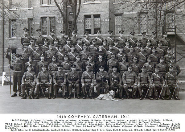14th company, caterham, 1941, fosbrook, cooney, lovejoy, smith, webster, herbert, hearne, anson, faulkner, wright, flynn, hewitt, hinchley, oakley, king, wilkes, holmes, joslin, tovey, short, young, seagull, solly, taylor, wheeler