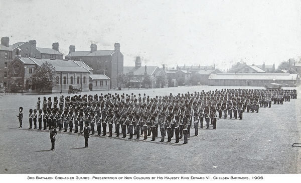 1906, chelsea barracks, presentation of new colours by king edward vii, Album 29, Grenadiers1142