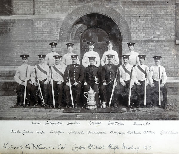 1912, c/sgt j l capper, c/sgts jones, drill sgt h wood, drummer a betts, l/cpl a pearce, l/cpl g coles, l/cpl j hudson, l/sgt f allen, l/sgt w scott, l/sgt w waterworth, lieut l c forbes, london district rifle meeting, sgt h latter, sgt r broughton