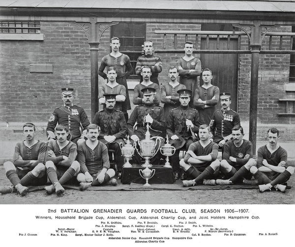 2nd battalion, football club, 1906-7, winners, household brigade cup, al, dershot cup, aldershot charity cup, joint holders hampshire cup, griffiths, drabble, smith, shepley, godfrey, shelton, willetts, acraman, vaughan, cavendish