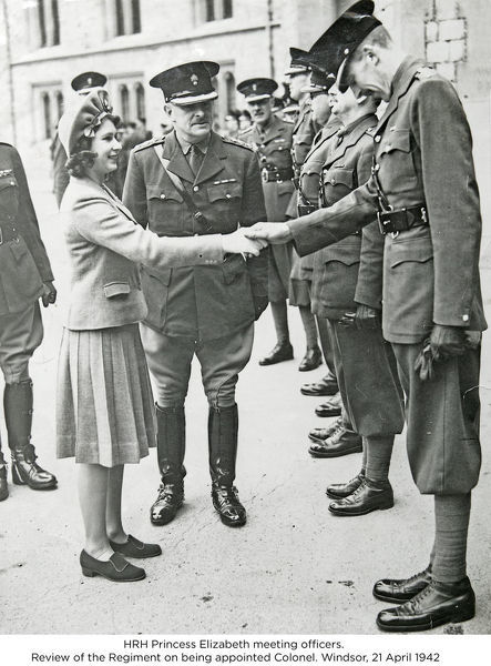hrh princess elizabeth meeting officers. review of the regiment on being appointed colonel. windsor, 21 april 1942, Album 51, Grenadiers2375
