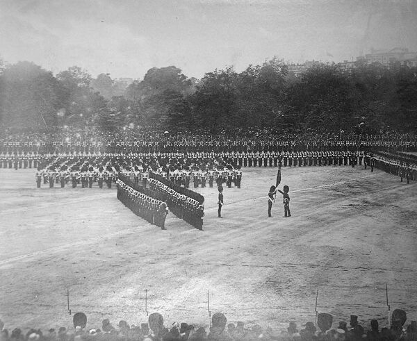lt r woolrige-gordon lt scott kerr trooping the colours 29 may 1886