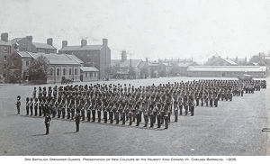 1906 chelsea barracks presentation of new colours by king edward vii