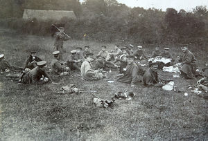 1908 officers at lunch manoeuvres