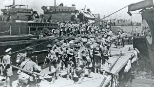 6th battalion embarking at tripoli for the invasion of italy