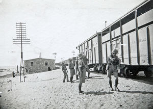 armoured train in desert