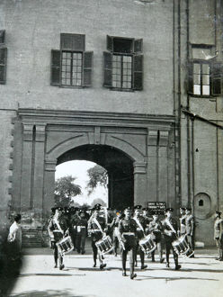 band marching out of barracks