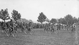 battalion sports july 1909 slow bicycle race
