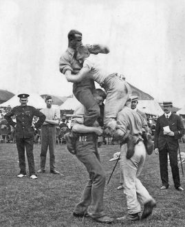battalion sports july 1909 wrestling on horseback