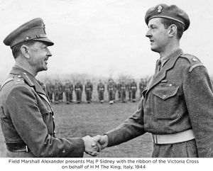 field marshall alexander presents maj p sidney with the ribbon of the victoria cross