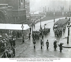 funeral of h m king george v the coffin being taken from westminster hall for procession