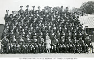 hrh princess elizabeth colonel with the staff of no.14 company