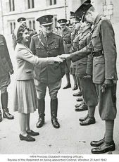 hrh princess elizabeth meeting officers. review of the regiment on being appointed colonel