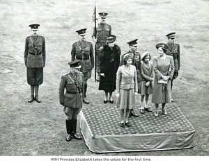 hrh princess elizabeth takes the salute for the first time