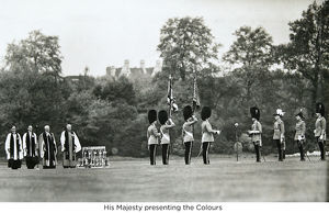 his majesty presenting the colours
