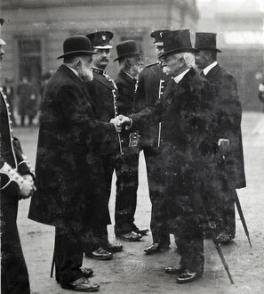 1910 col sgt carter general sir george higginson greeting crimean war veterans at