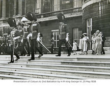presentation of colours to 2nd battallion by h m king george vi