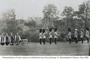 presentation of new colours to battalion by king george vi